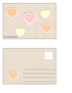 Postcard with colorful hearts