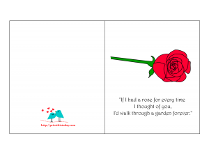 Free Printable Romantic Card for Valentine's day