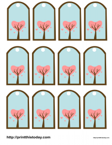 Valentine Favor Tags with love tree