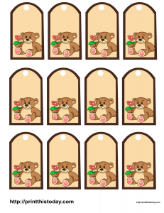 Favor tags with teddy bear holding a flower