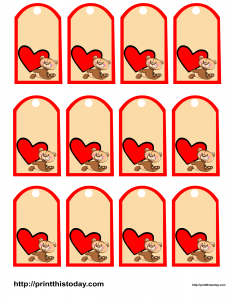 Favor tags featuring cute teddy bear and a big heart
