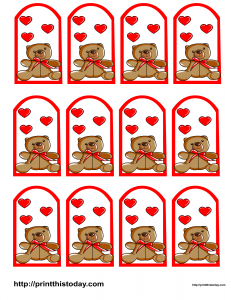Teddy bear and hearts favor tags