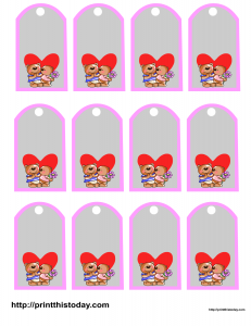 Favor tags featuring cute teddy bears couple