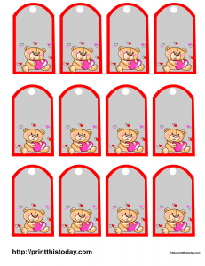 Favor tags featuring teddy bears
