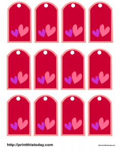 Favor tags featuring two hearts