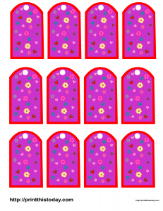 Valentine Favor tags with hearts and flowers