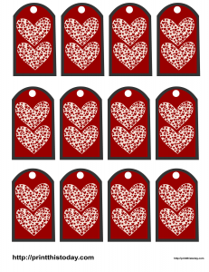 Valentine favor tags featuring hearts