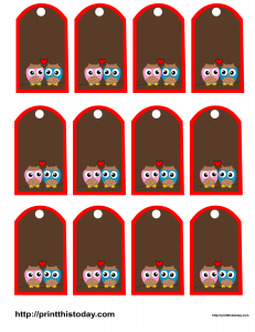 Favor tags with owls and heart