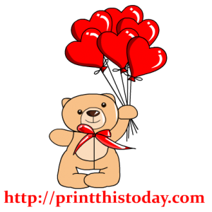 Teddy Bear and Heart Shaped Balloons Clip Art