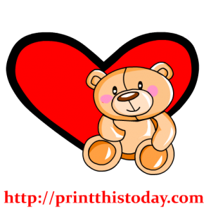 Sweet Teddy bear and heart clip art