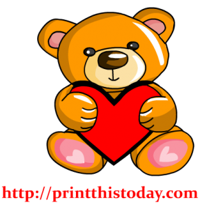 Baby Teddy Bear holding a heart Clip Art