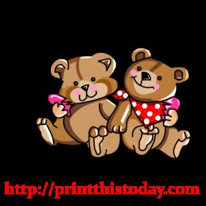 Cute Love teddy bears holding a heart