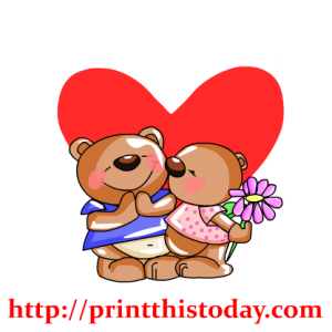 Teddy bear holding a flower in front of a big heart