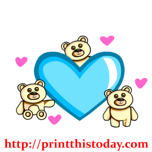 Three Teddy bears and one big heart PNG Clip Art