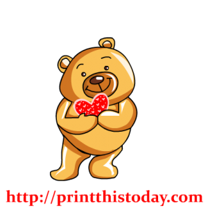 Adorable Love Teddy Bear with Heart Clip Art