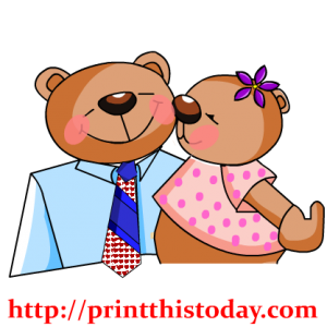 Teddy Kissing Daddy Clip Art