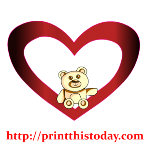 Teddy Bear Sitting inside a Heart Clip Art