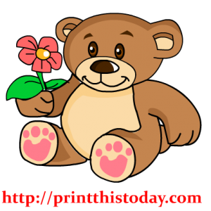 Teddy Bear Holding a Flower Clip Art