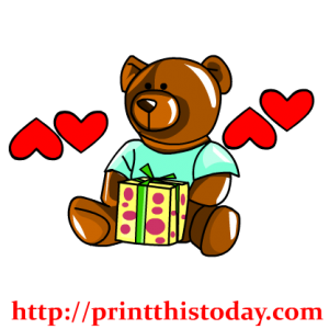 Teddy Bear and a Gift Pack Clip Art