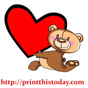 Teddy Bear Holding a big Heart Clip Art