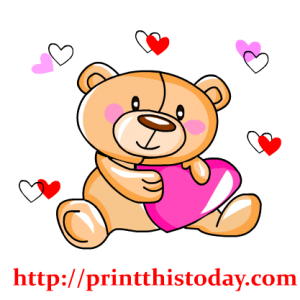 Cute Teddy Bear and Hearts Clip Art