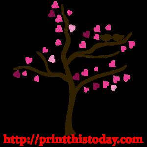 Tree with Love Birds Clip Art