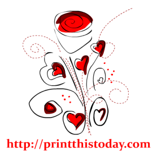 Clip Art with Hearts and Flower