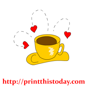valentine tea cup with hearts clip art