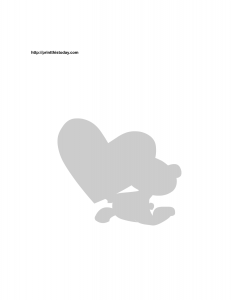 teddy bear and heart silhouette stencil