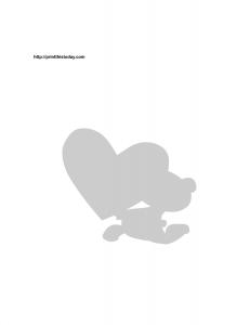 teddy bear and heart silhouette stencil