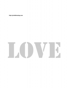 Stencil for the word love