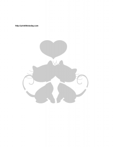 cats and heart stencil