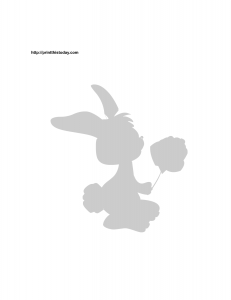 Easter bunny holding a rose stencil