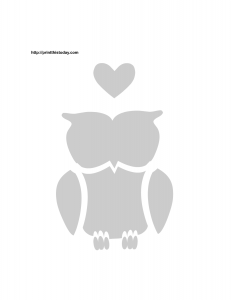 love owl stencil with heart