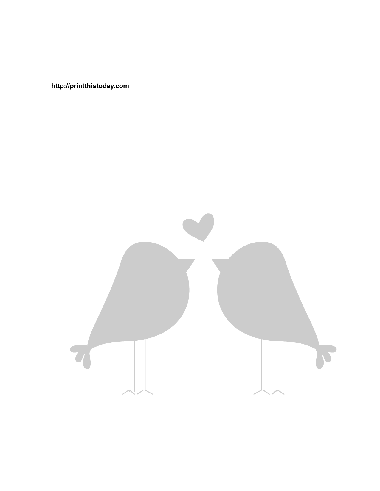 Love Birds And Heart Stencil