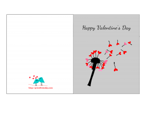 Valentine day printable card featuring dandelion hearts