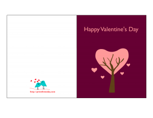 Heart and tree valentine card Free Printable