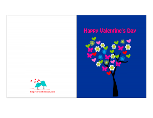Valentine card to print featuring hearts and flowers