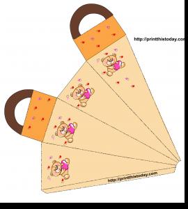 Favor Bag featuring Teddy bear holding a heart