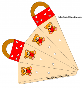 Teddy bear and Hearts favor Bag