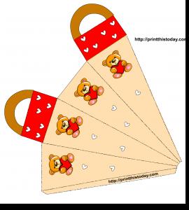Teddy bear and Hearts favor Bag