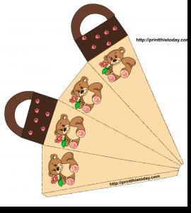 Favor bag with teddy bear holding a Flower