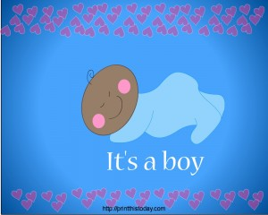It's a Boy (African-American Boy Baby Shower Party Place Mat) printable
