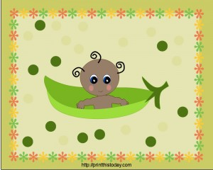 Pea in a Pod Baby Shower Place Mat (African-American Baby)