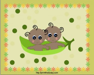 Twin Peas in a Pod Baby Shower Place Mats (African-American)