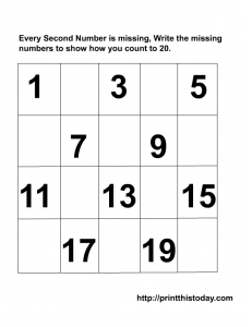 Writing the missing even numbers maths worksheet from 1-20