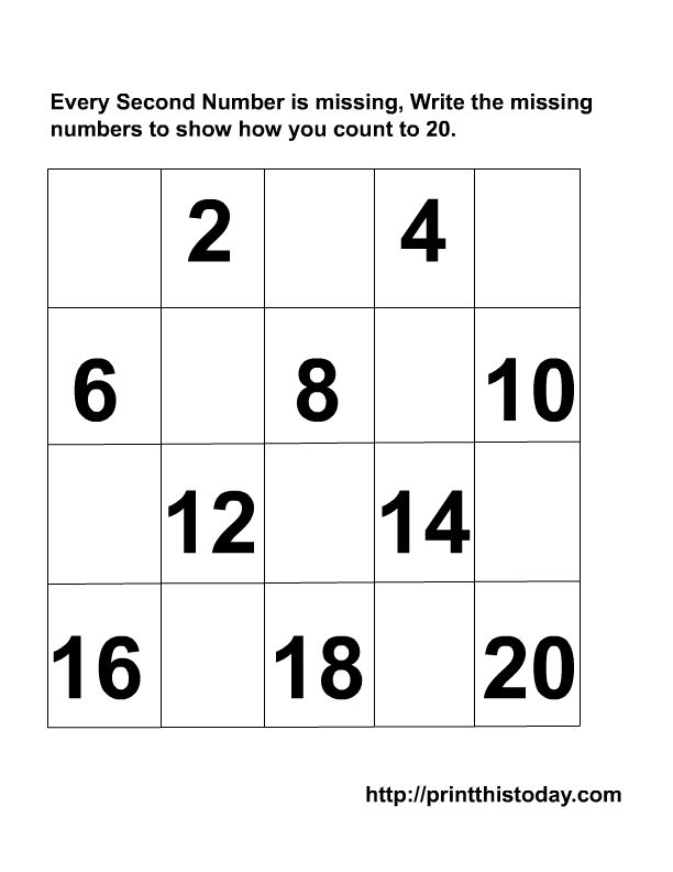 Writing the Missing Numbers Maths Worksheets ( 1-20)
