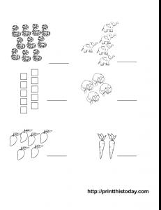 preschool maths worksheet to write the matching number