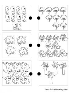 matching sets worksheet for pre-school