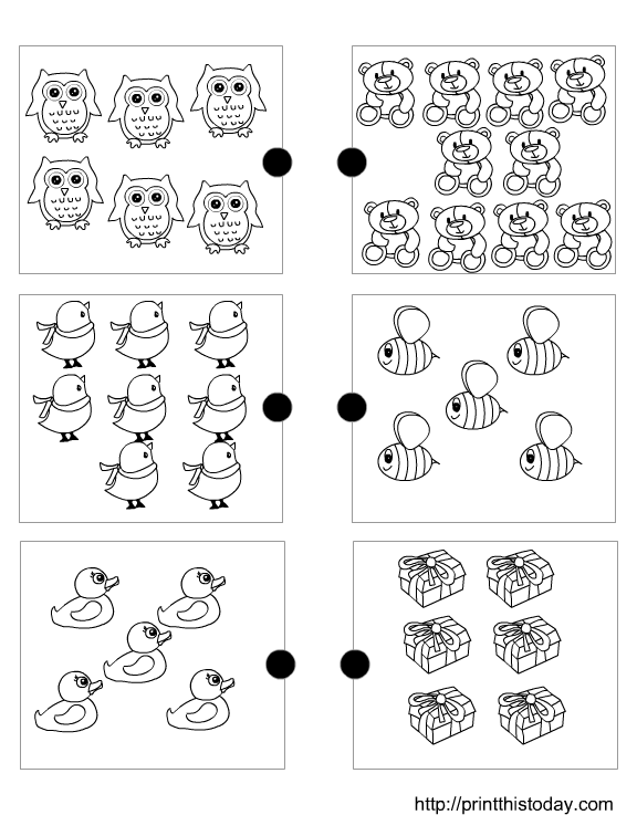 Joining the matching sets free printable preschool math worksheets – Preschool Matching Worksheets